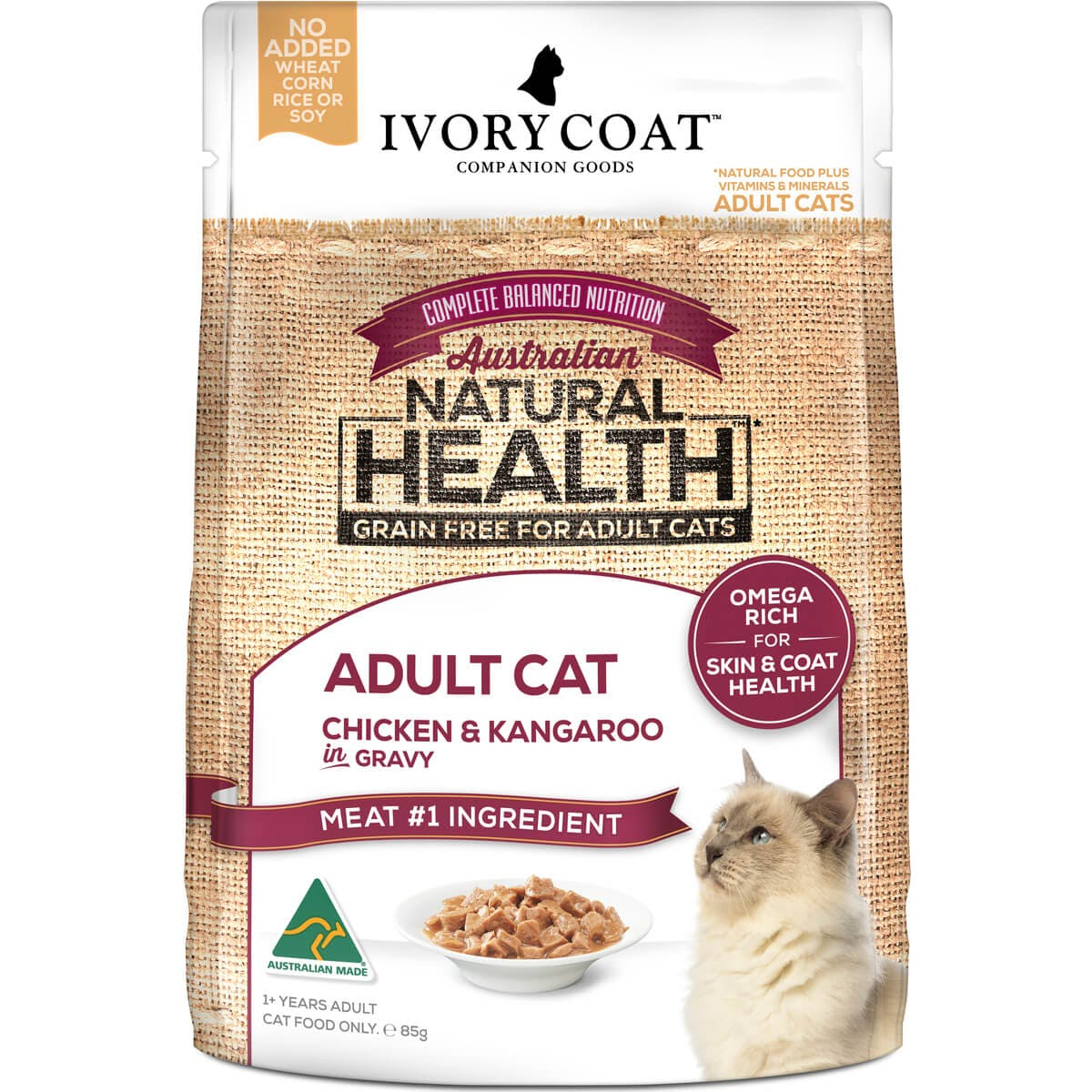 Ivory Coat | Cat Wet GF Adult Chicken & Kangaroo in Gravy 85g | Grain Free Wet Cat Food | Front of pack