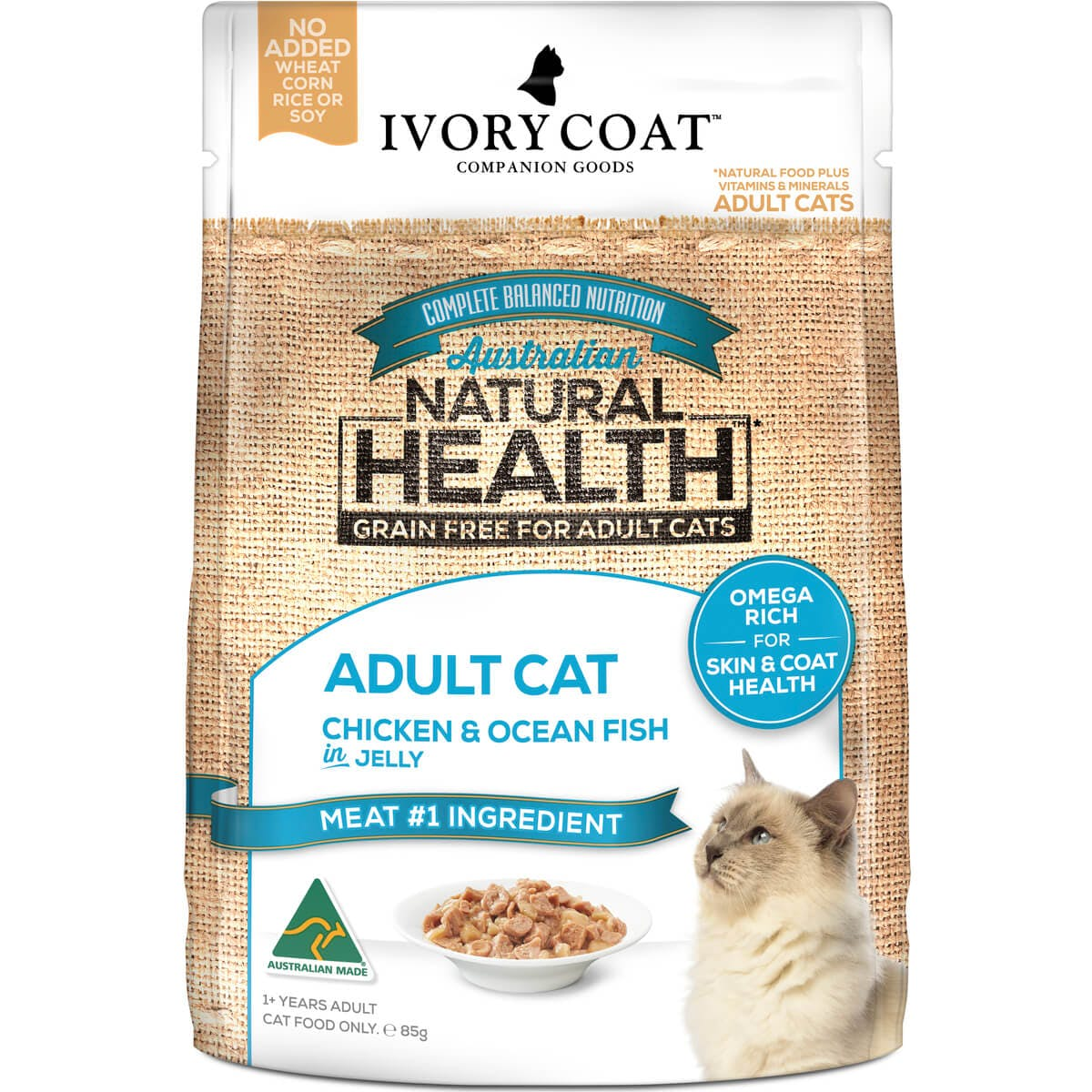 Ivory Coat | Cat Wet GF Adult Chicken & Ocean Fish in Jelly 85g | Grain Free Wet Cat Food | Front of pack