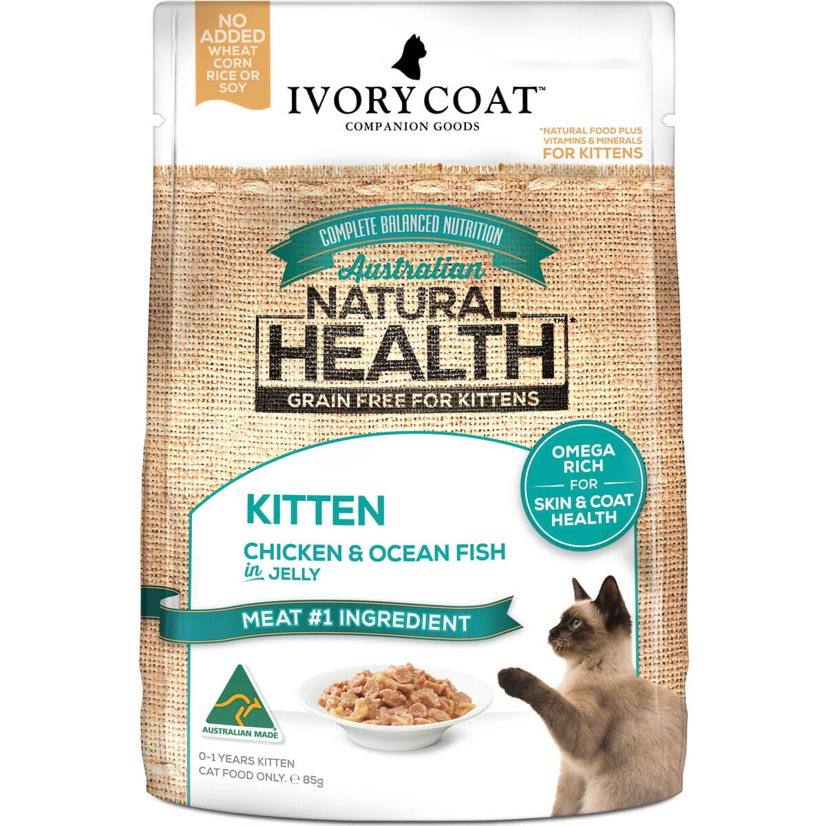 Ivory Coat | Cat Wet GF Kitten Chicken & Ocean Fish in Jelly 85g | Grain Free Wet Cat Food | Front of pack
