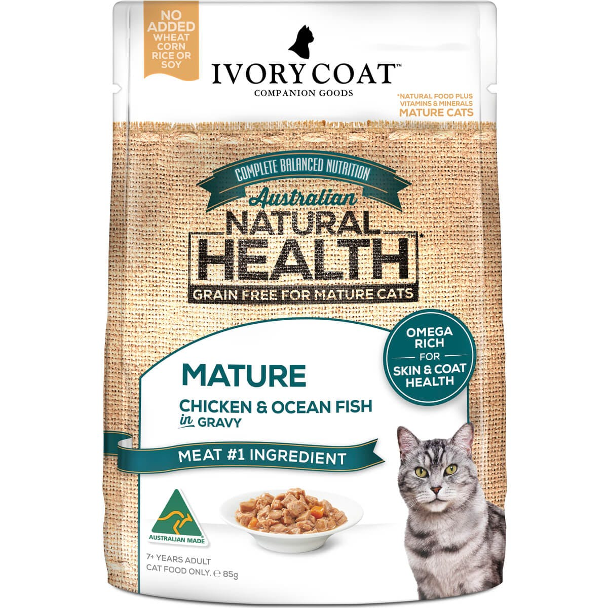 Ivory Coat | Cat Wet GF Mature Chicken & Ocean Fish in Gravy 85g | Grain Free Wet Cat Food | Front of pack