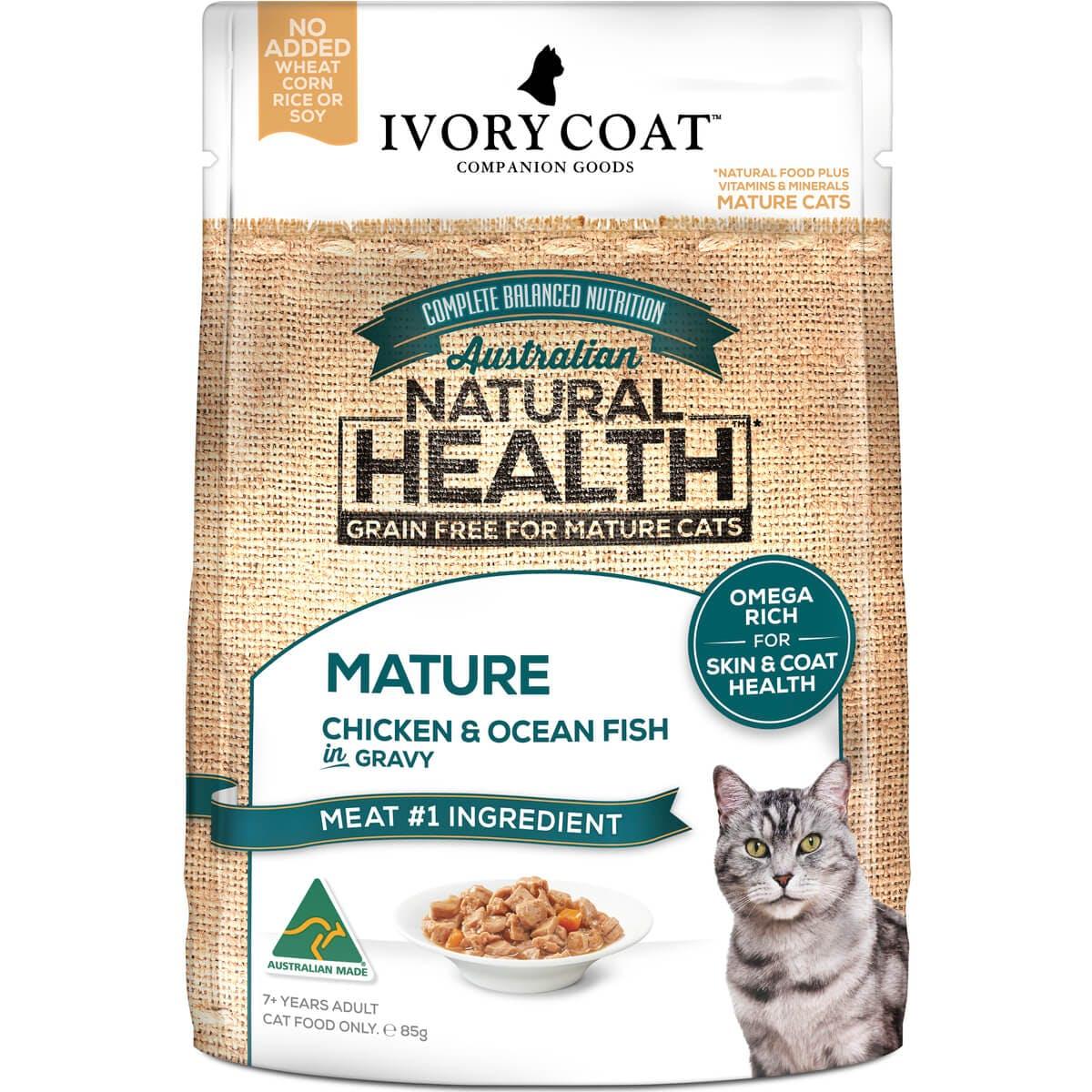 Ivory Coat | Cat Wet GF Mature Chicken & Ocean Fish in Gravy 85g | Grain Free Wet Cat Food | Front of pack