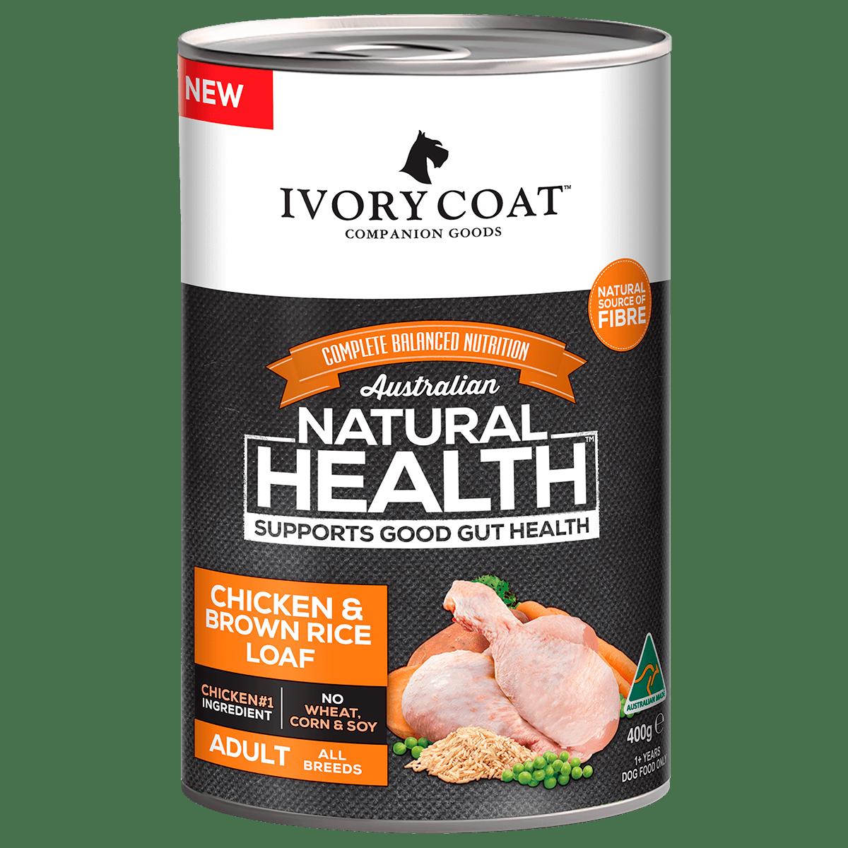 Ivory Coat   Wet Chicken & Brown Rice Loaf 400g   Wet Dog Food   Front of pack