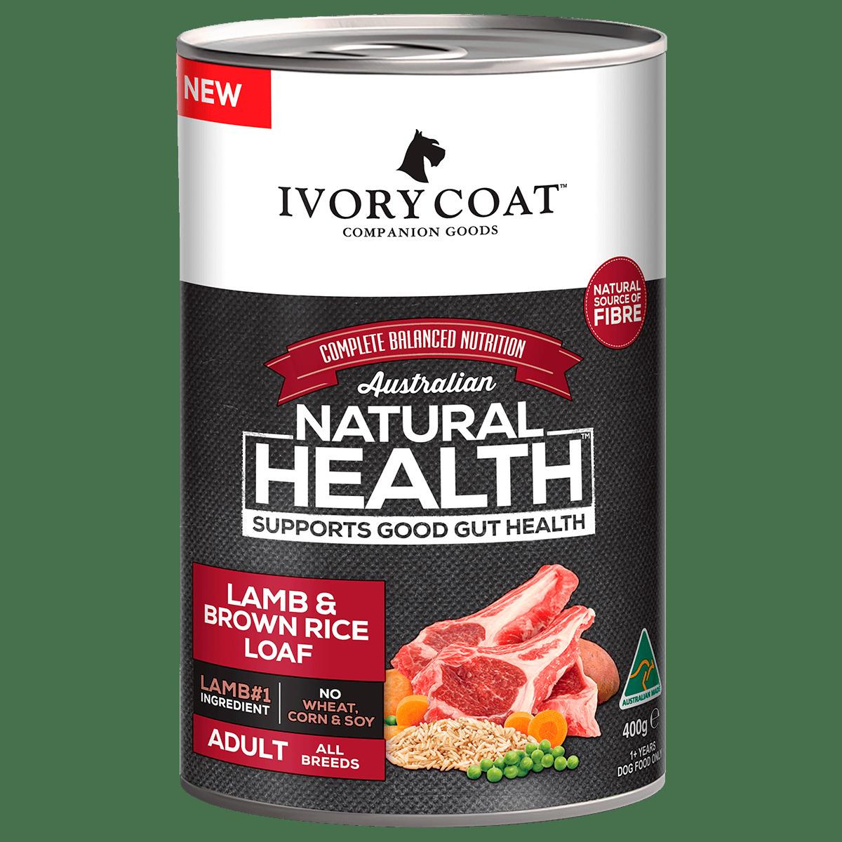 Ivory Coat | Wet Lamb & Brown Rice Loaf 400g | Wet Dog Food | Front of pack