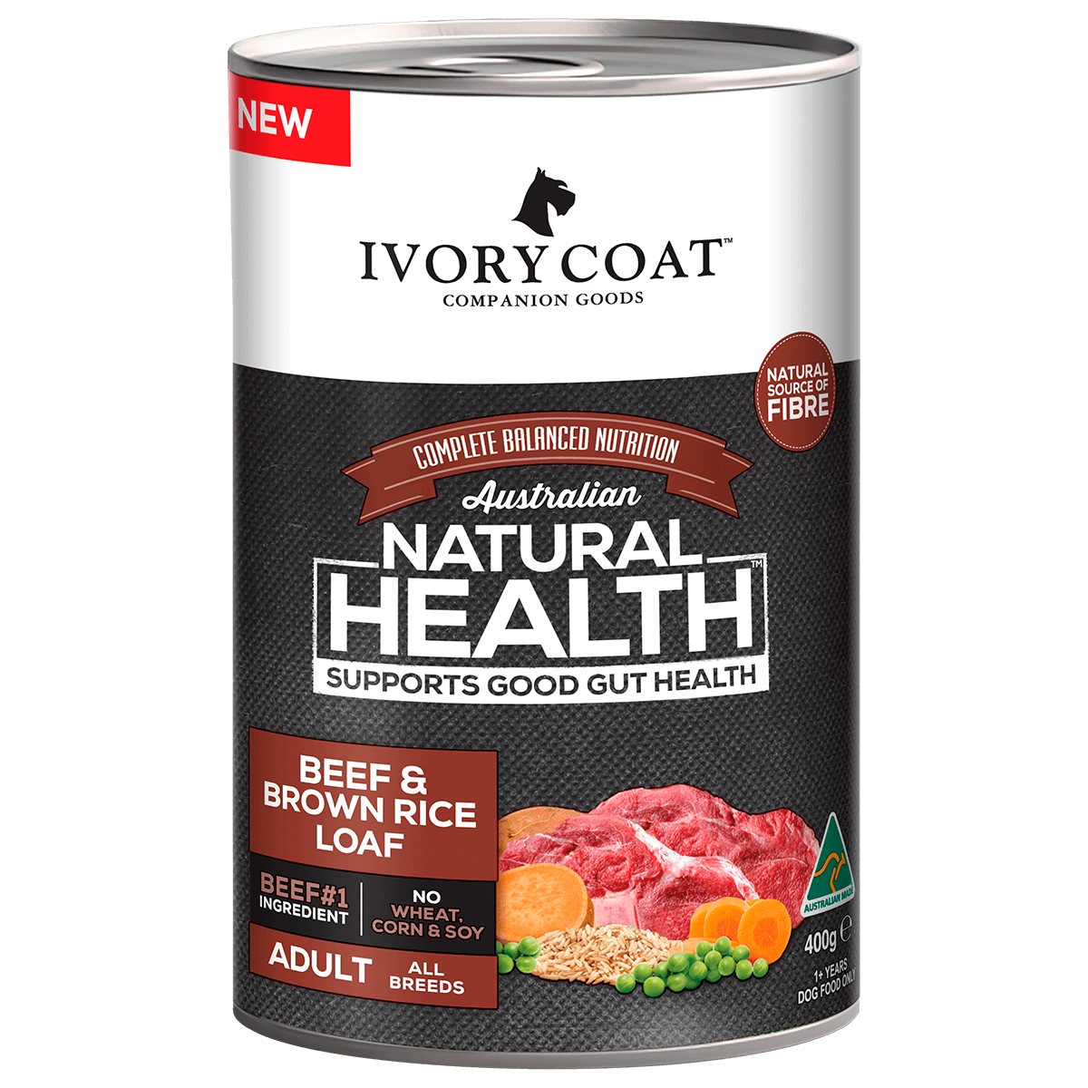 Ivory Coat | Wet Beef & Brown Rice Loaf 400g | Wet Dog Food | Front of pack