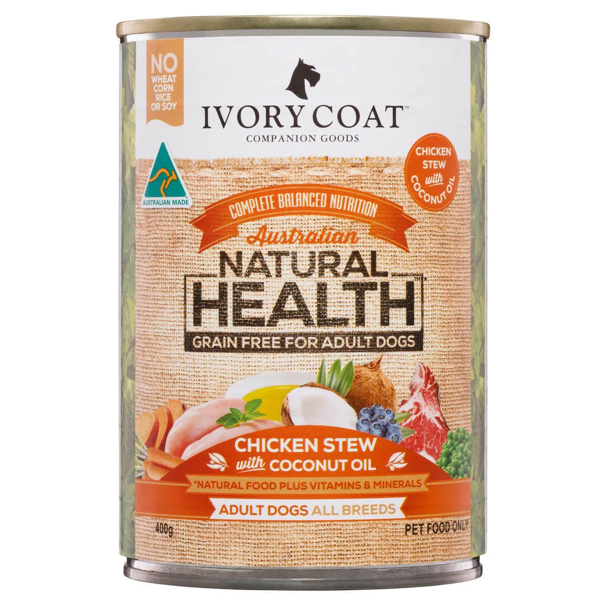 Ivory Coat | Wet GF Chicken Stew with Coconut Oil 400g | Grain Free Wet Dog Food | Front of pack