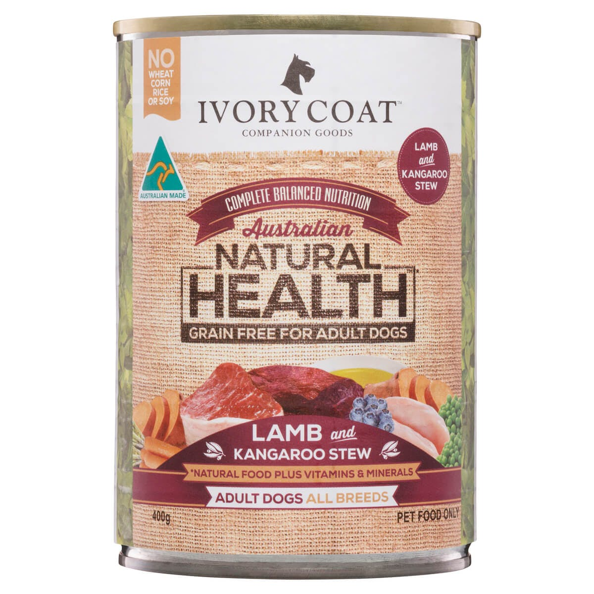 Ivory Coat | Wet Lamb & Kangaroo Stew 400g | Grain Free Wet Dog Food | Front of pack