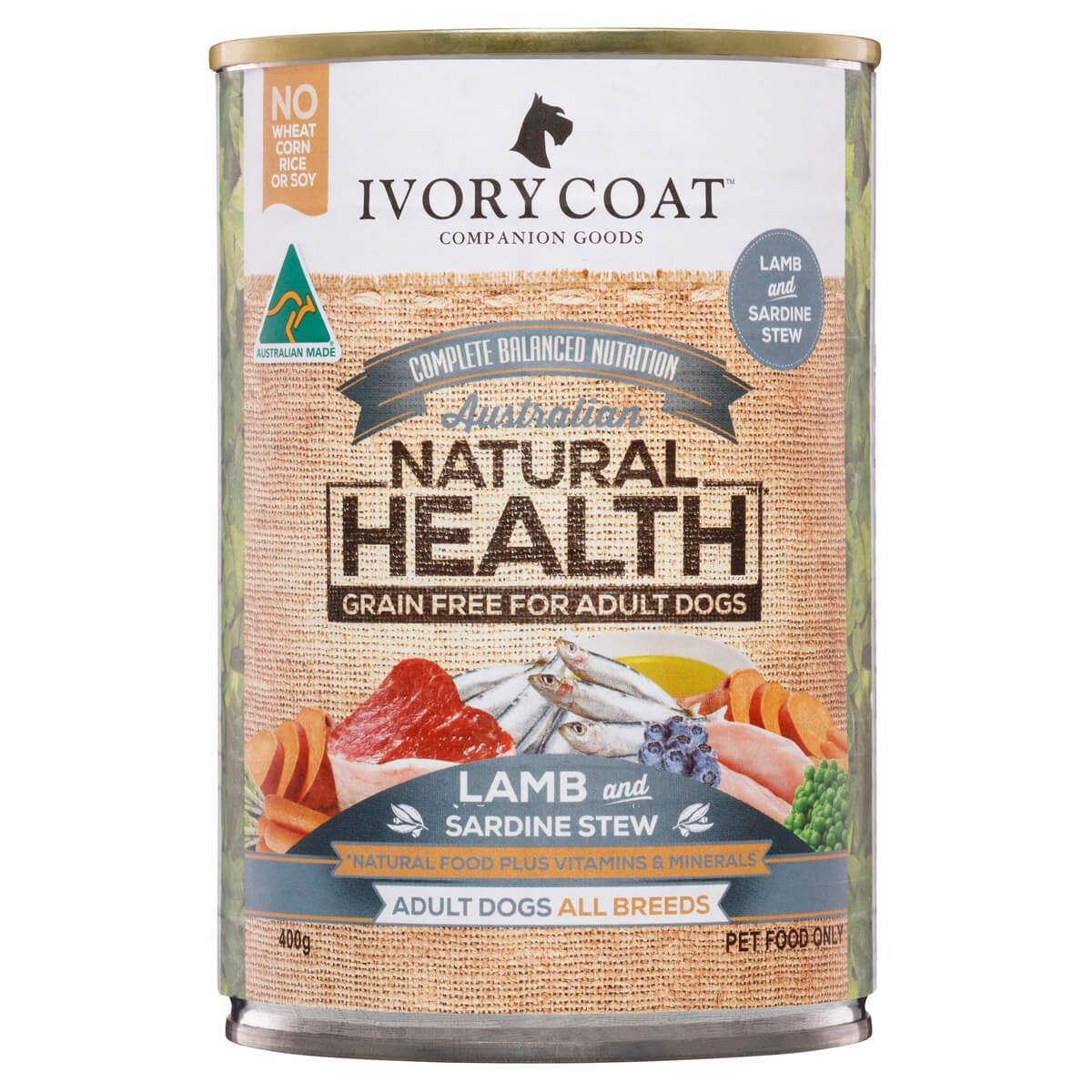 Ivory Coat | Wet Lamb & Sardine Stew 400g | Grain Free Wet Dog Food | Front of pack