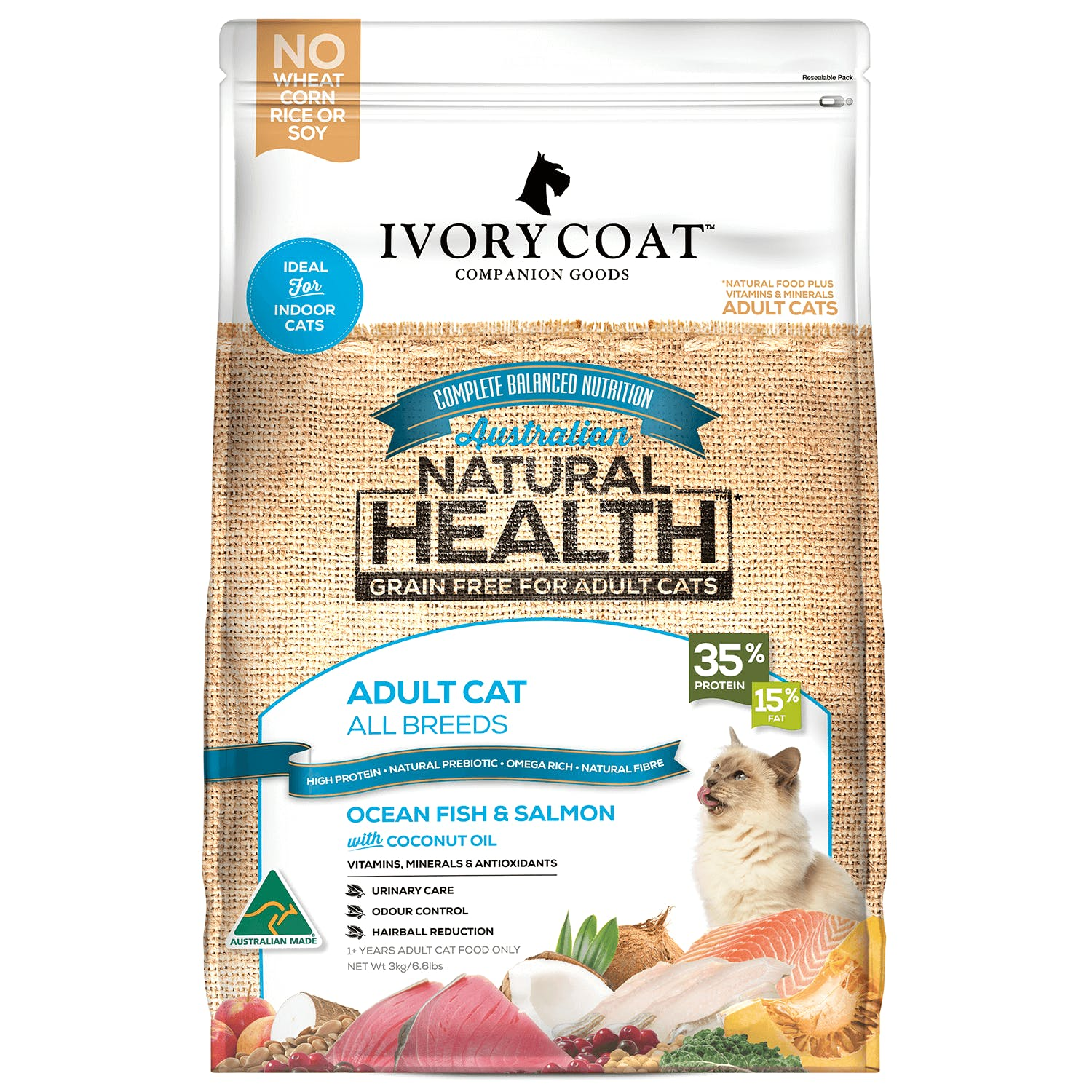 Ivory Coat | Cat Dry GF Ocean Fish & Salmon with Coconut Oil 3kg | Grain Free Dry Cat Food | Front of pack